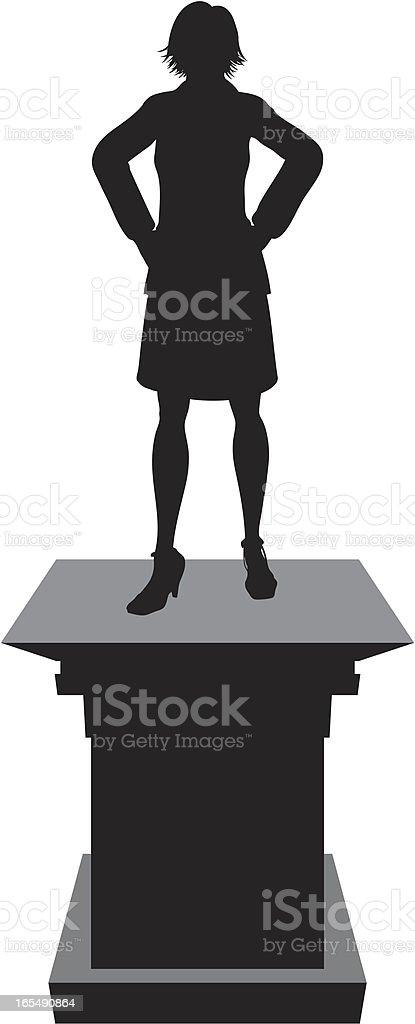 Winner Pedestal - Woman royalty-free stock vector art