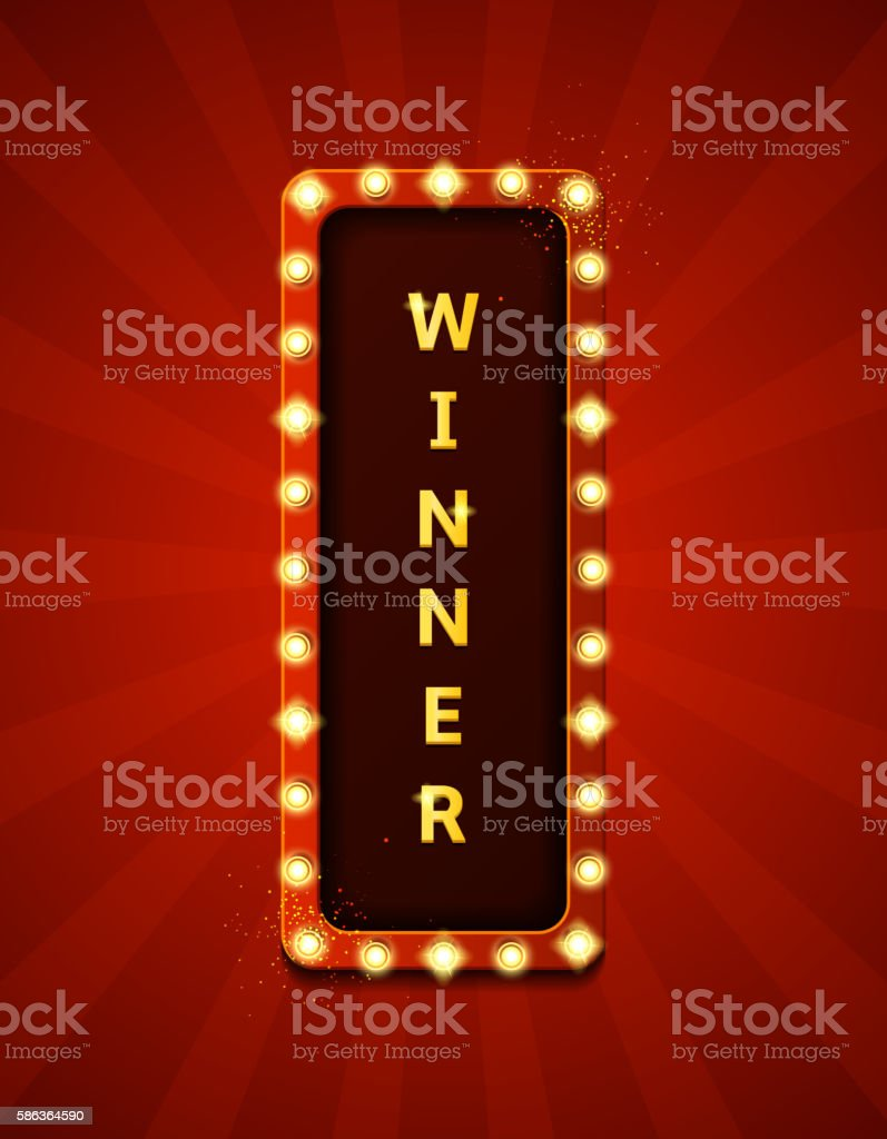 Winner retro banner with glowing lamps royalty-free stock vector art