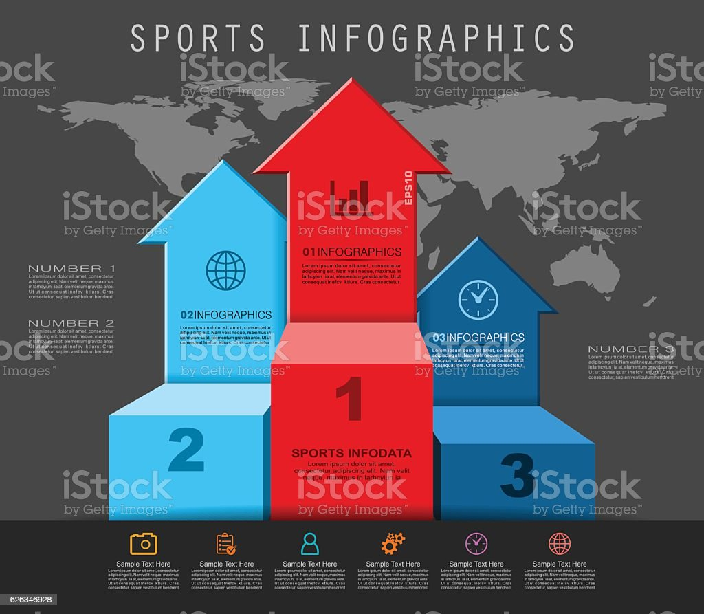Winners Podium Infographics. Pedestal of Winners in Flat Style. vector art illustration