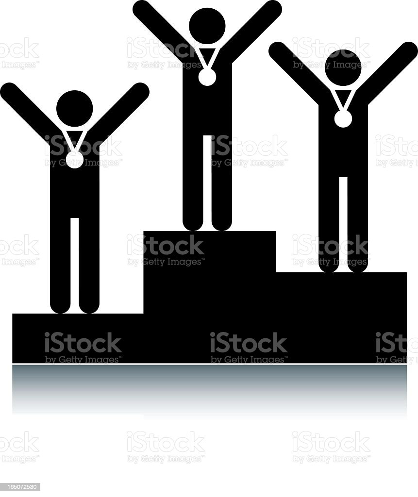 Winners podium with black and white vector art illustration