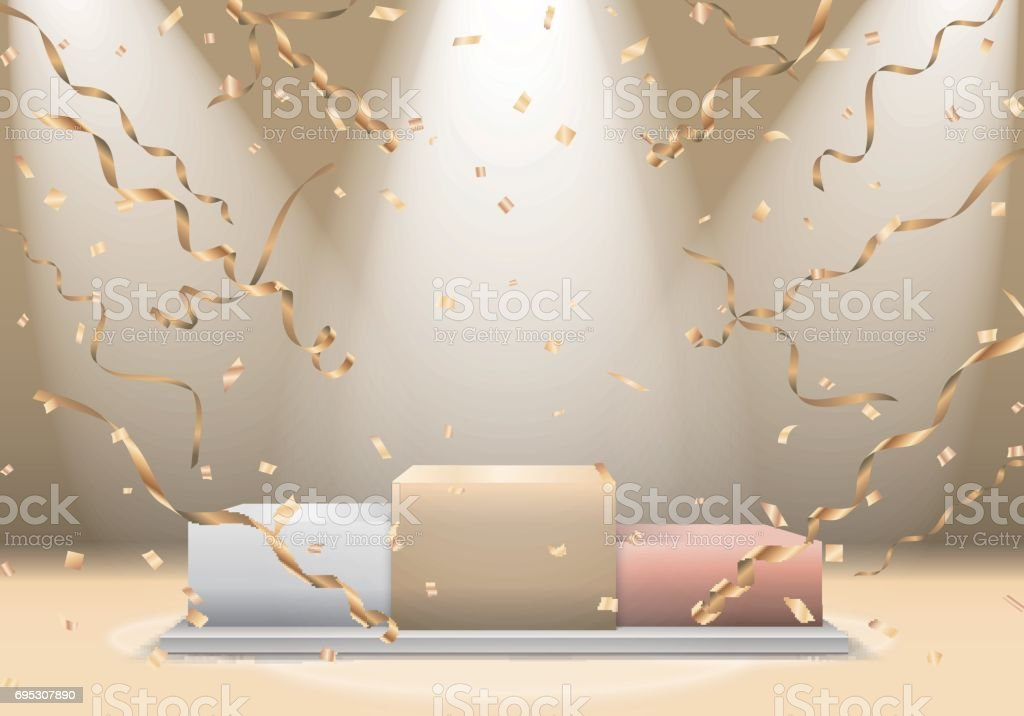 Winners podium with spotlight and confetti vector art illustration