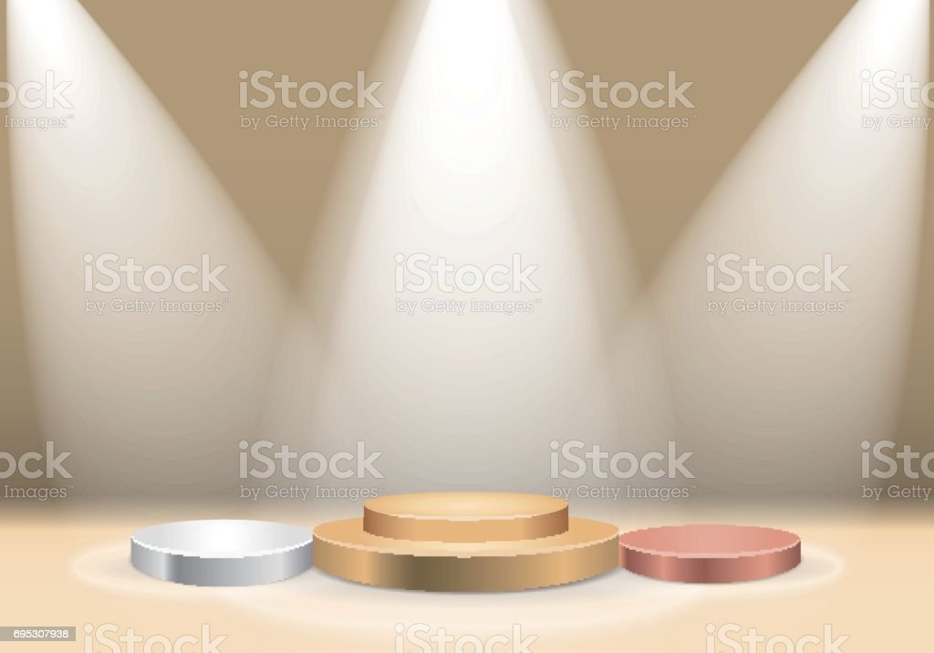Winners podium with spotlight vector art illustration