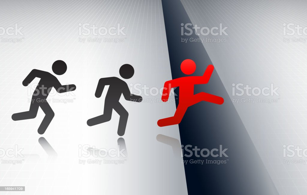 Winning an Obstacles Race Concept Stick Figures vector art illustration
