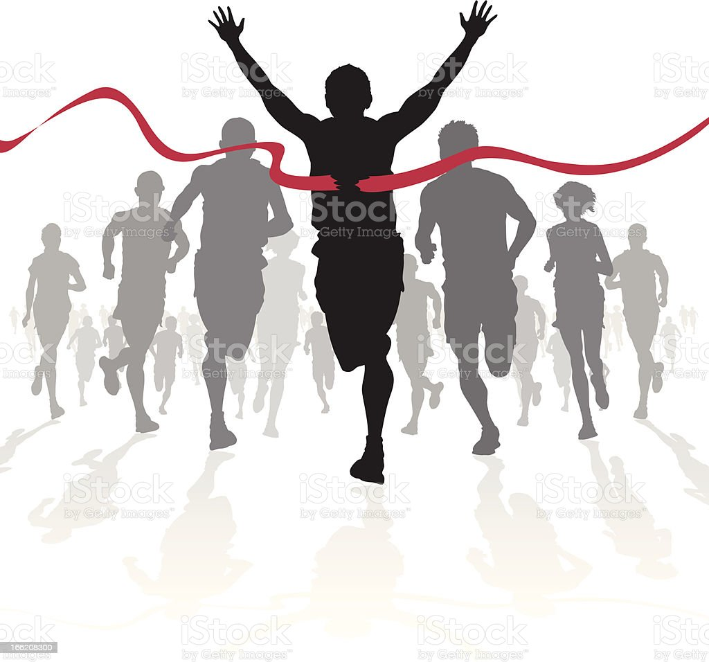 Winning Athlete crosses the finish line royalty-free stock vector art