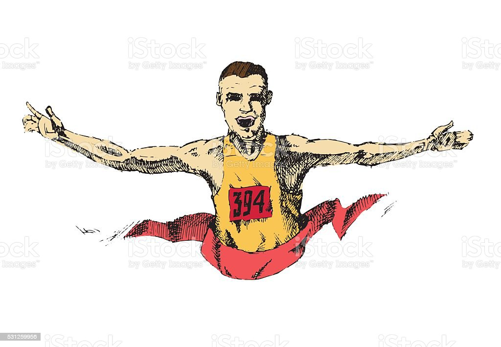 Winning athlete crosses the finish line vector art illustration