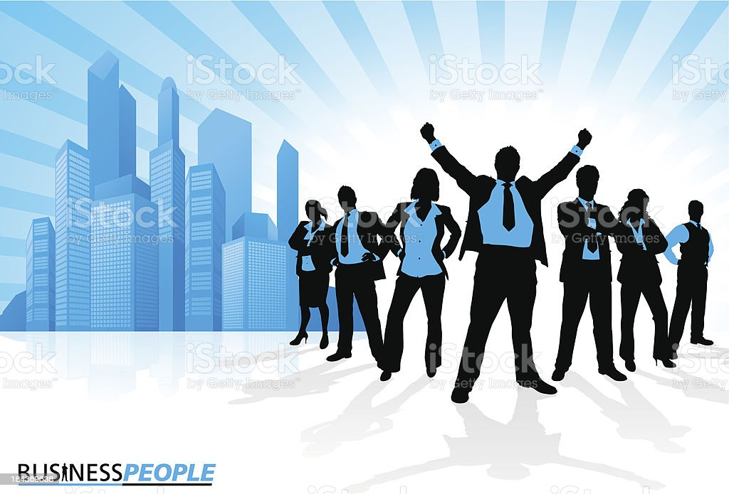 Winning Business Team against City Skyline vector art illustration
