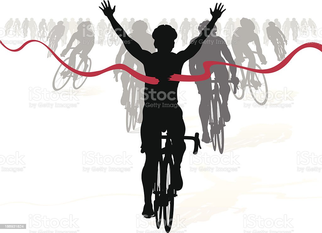 Winning Cyclist crosses the finish line in a race royalty-free stock vector art
