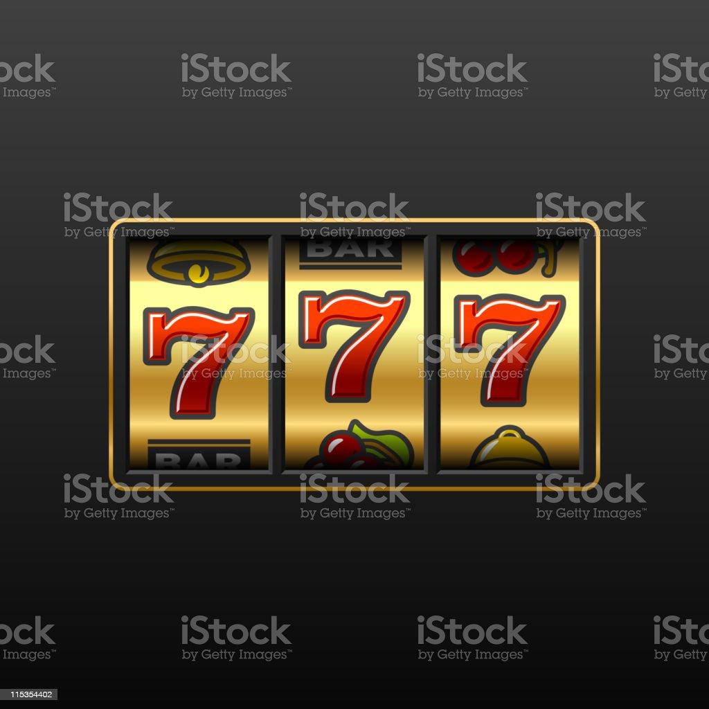 Winning in slot machine vector art illustration