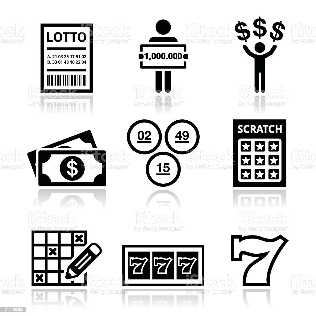 Winning money on lottery, slot machine icons set vector art illustration