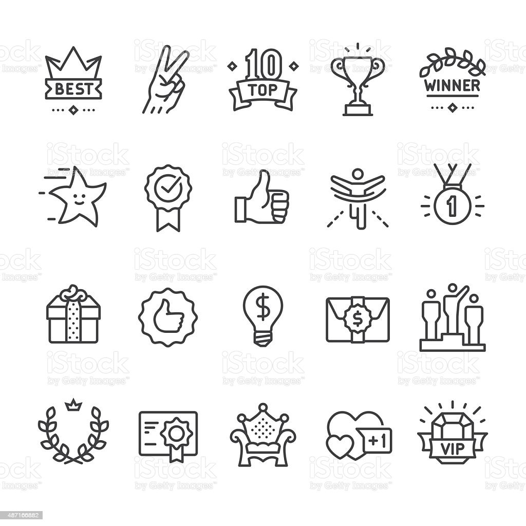 Winning, Success and Achievement vector icons vector art illustration