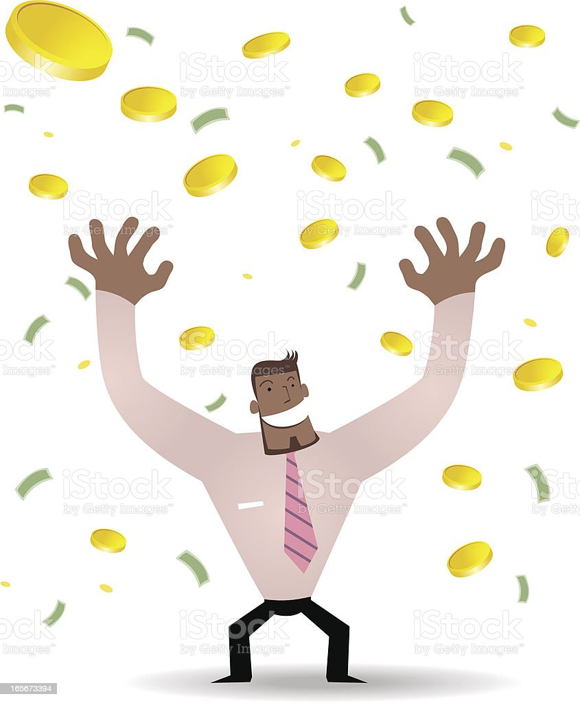 Winning the Lottery(Businessman and a lot of money Falling) royalty-free stock vector art