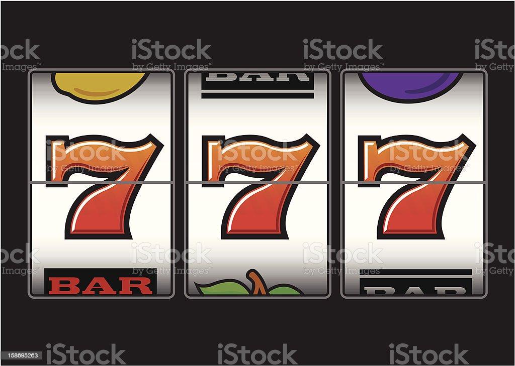 Winning Triple Seven Slot Machine vector art illustration