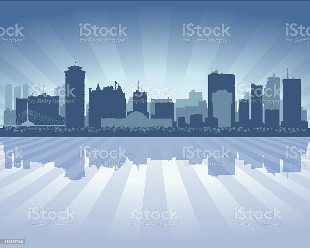 Winnipeg Canada Blue City skyline silhouette royalty-free stock vector art
