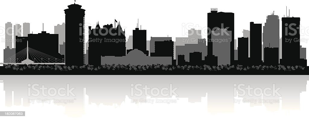 Winnipeg Canada city skyline vector silhouette royalty-free stock vector art