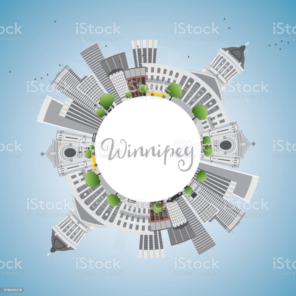Winnipeg Skyline with Gray Buildings and Copy Space. vector art illustration