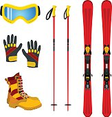 Winter accessories extreme sports, ski, gloves, boots. Flat style.