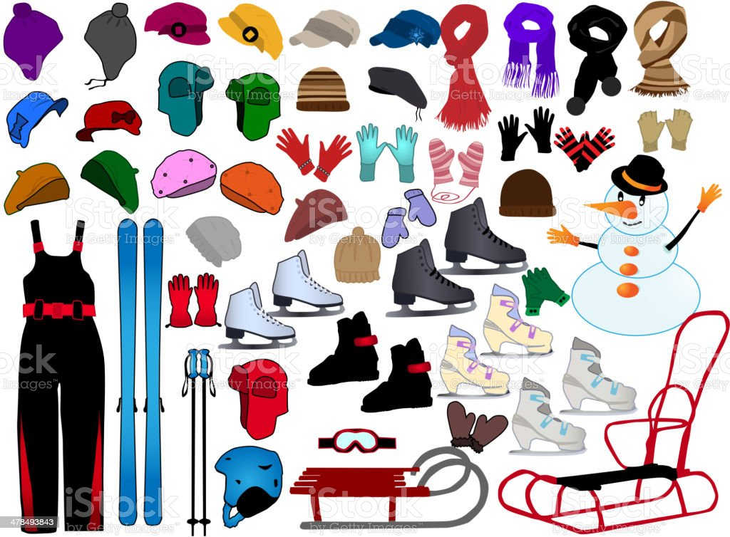 Winter Accessories vector art illustration