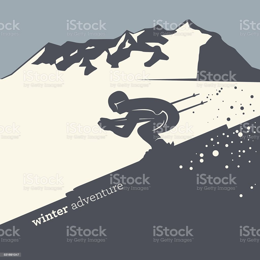 Winter adventure background vector art illustration