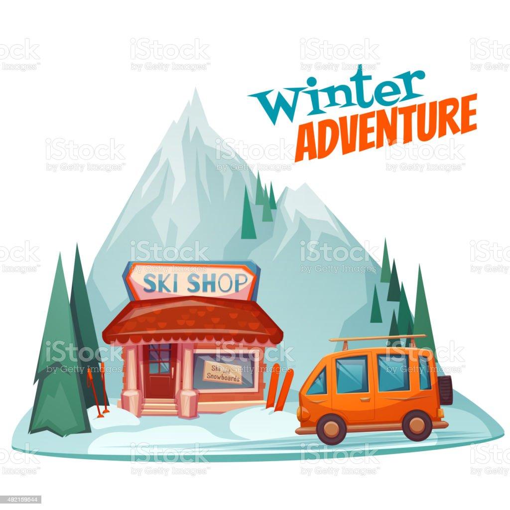 Winter adventure poster with ski shop. Vector illustration vector art illustration