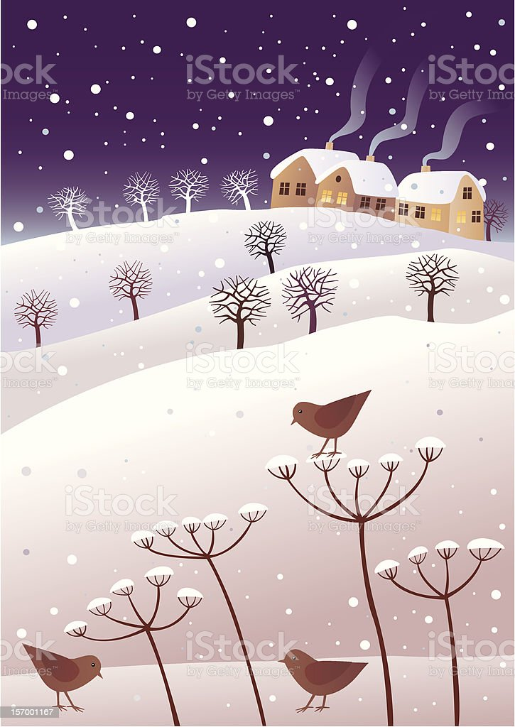 Winter and birds royalty-free stock vector art