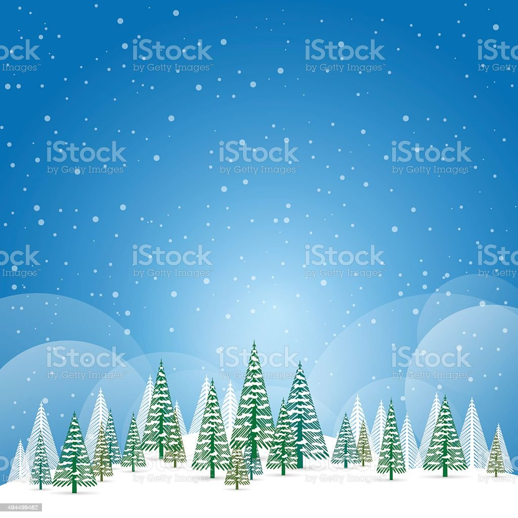 Winter and christmas landscape with snow and trees vector art illustration