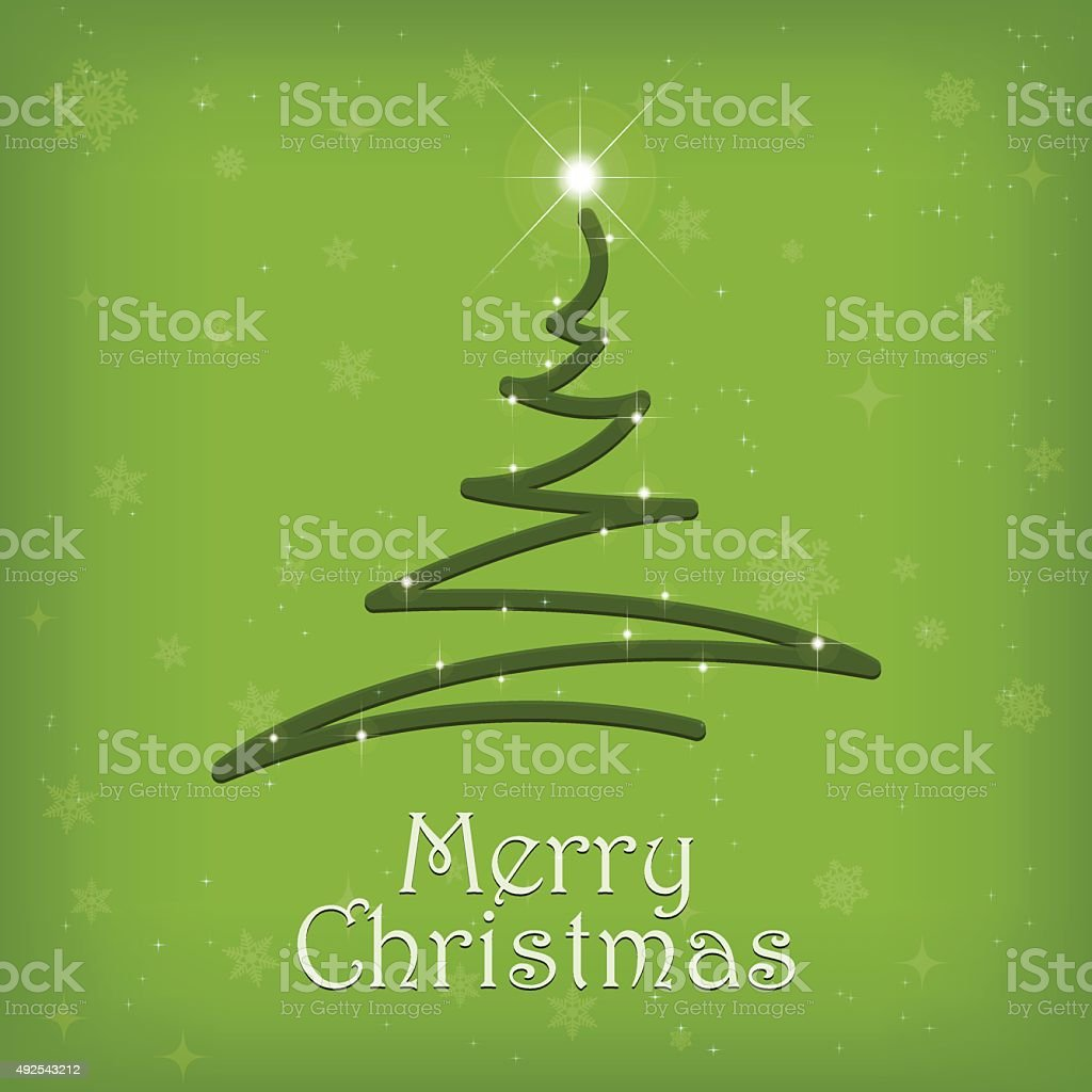 Winter and christmas tree black background with stars vector art illustration