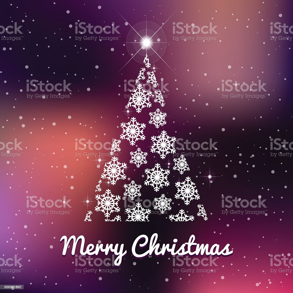 Winter and christmas tree blue background with stars vector art illustration