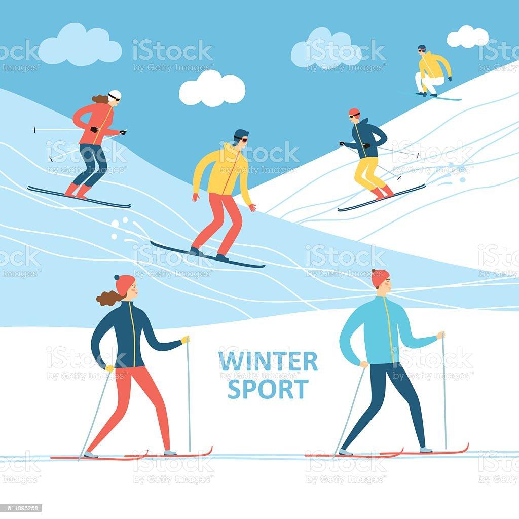 Winter athletes cartoon illustration vector art illustration