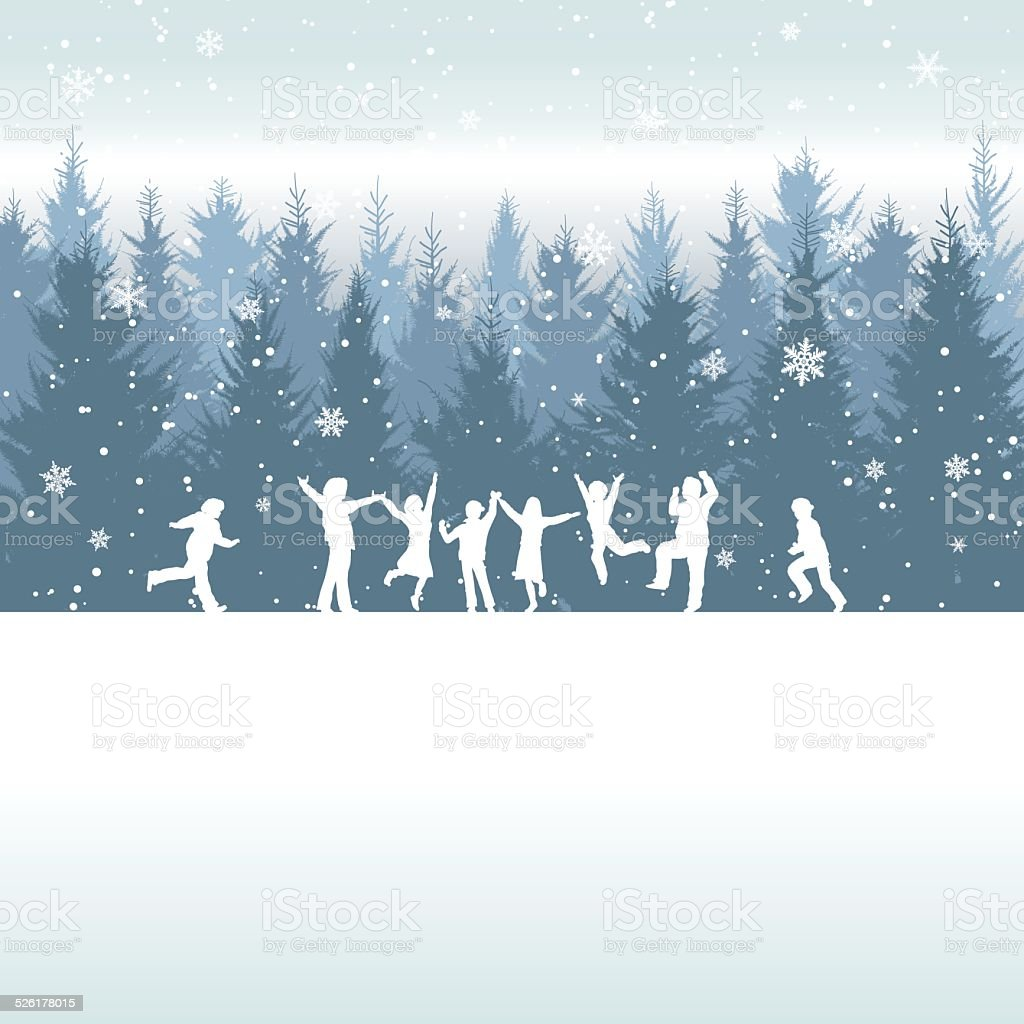 Winter backgrand[Happy children] vector art illustration