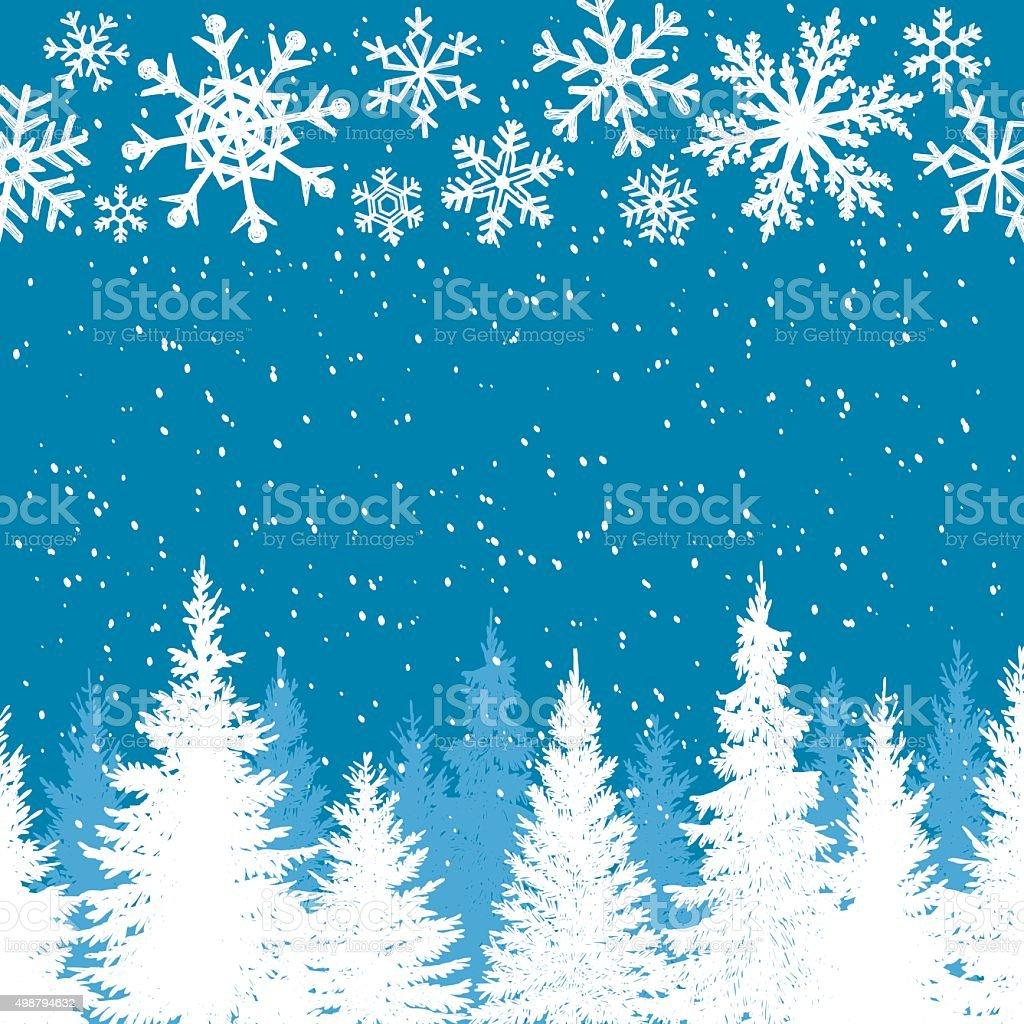 Winter Background Blue vector art illustration