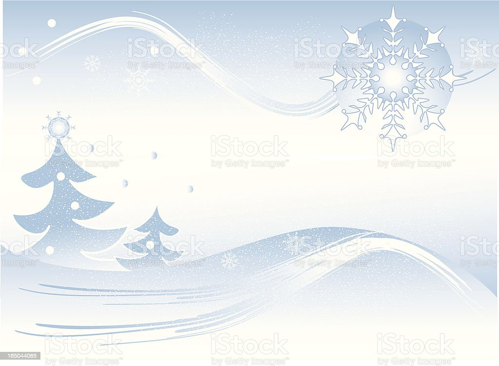 winter background Christmas trees and star snowflake royalty-free stock vector art