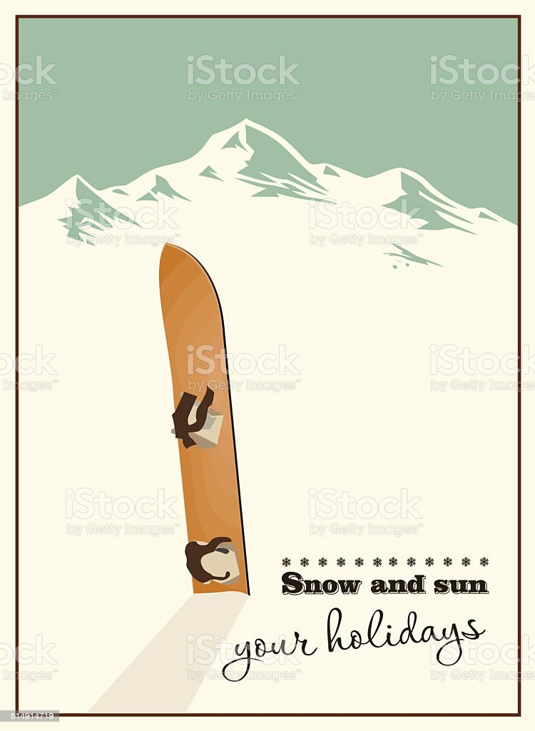 Winter  background. Mountains and old snowboard in the snow vector art illustration