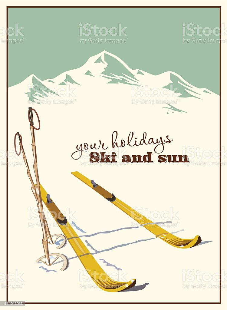 Winter  background. Mountains and ski equipment in the snow vector art illustration