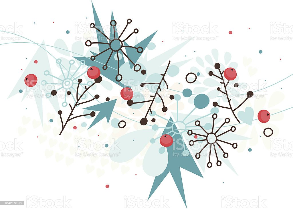 Winter background with berries royalty-free stock vector art