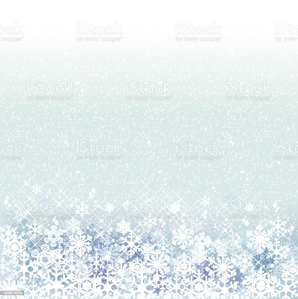 Winter background with blue snow scenery vector art illustration