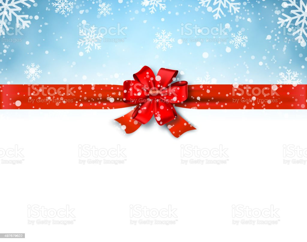 Winter background with red bow vector art illustration