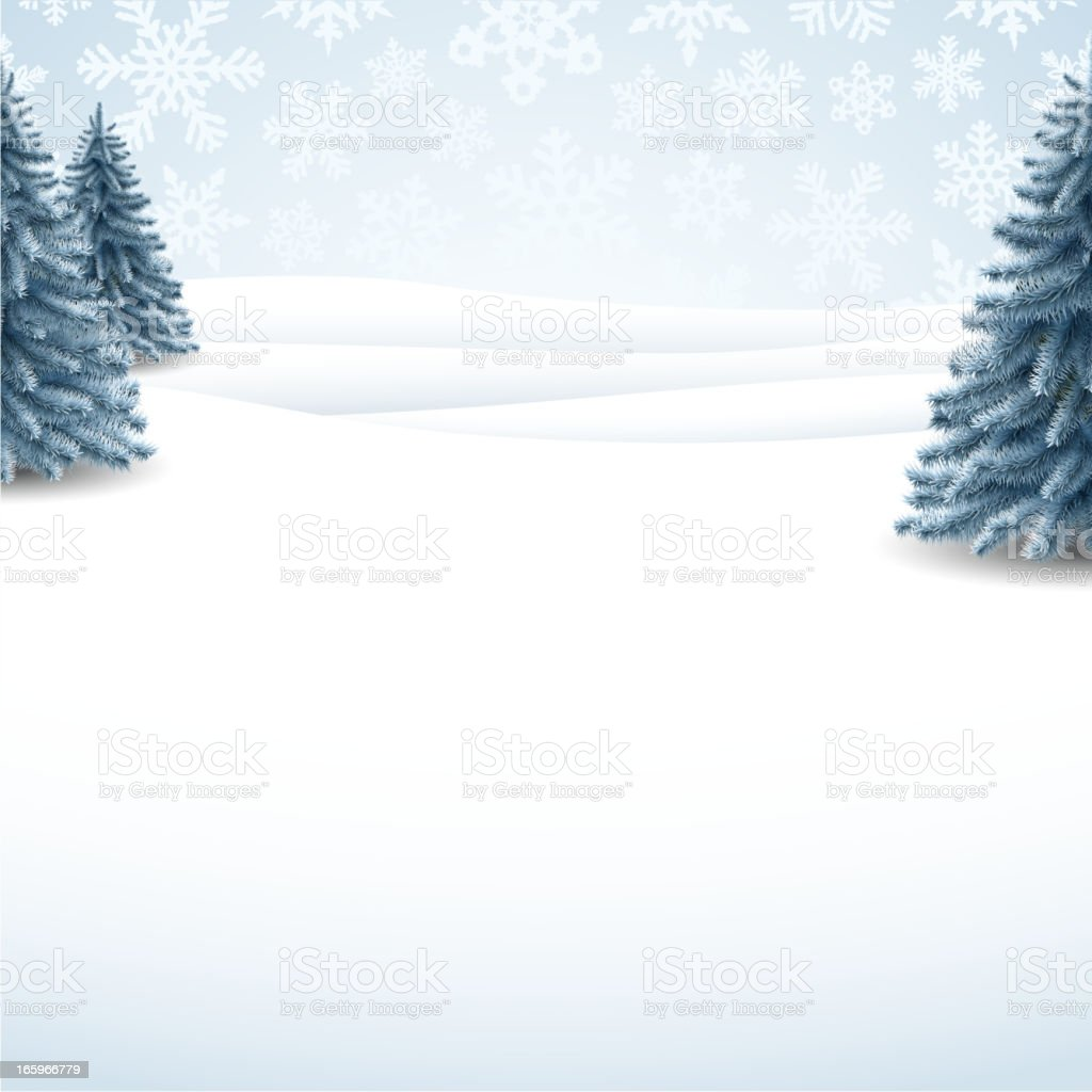 Winter background with three pinetrees in the snow vector art illustration