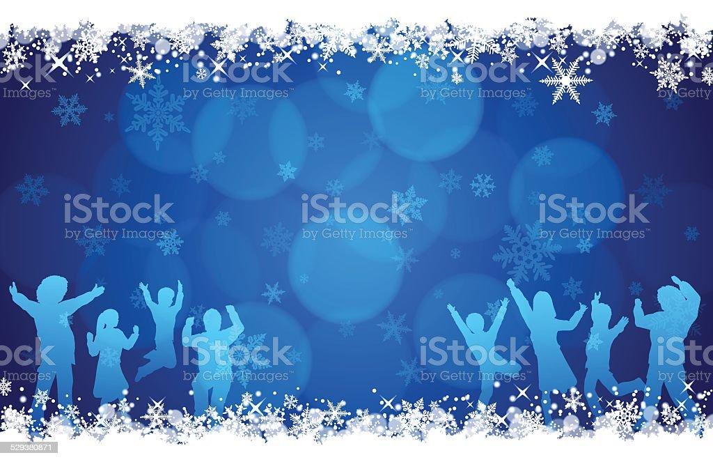 Winter background[Blue illumination and snow] vector art illustration