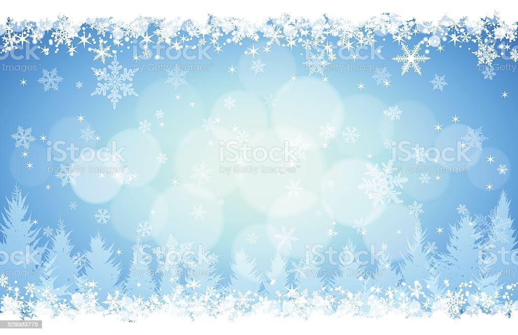 Winter background[Blue illumination and snow] vector art illustration