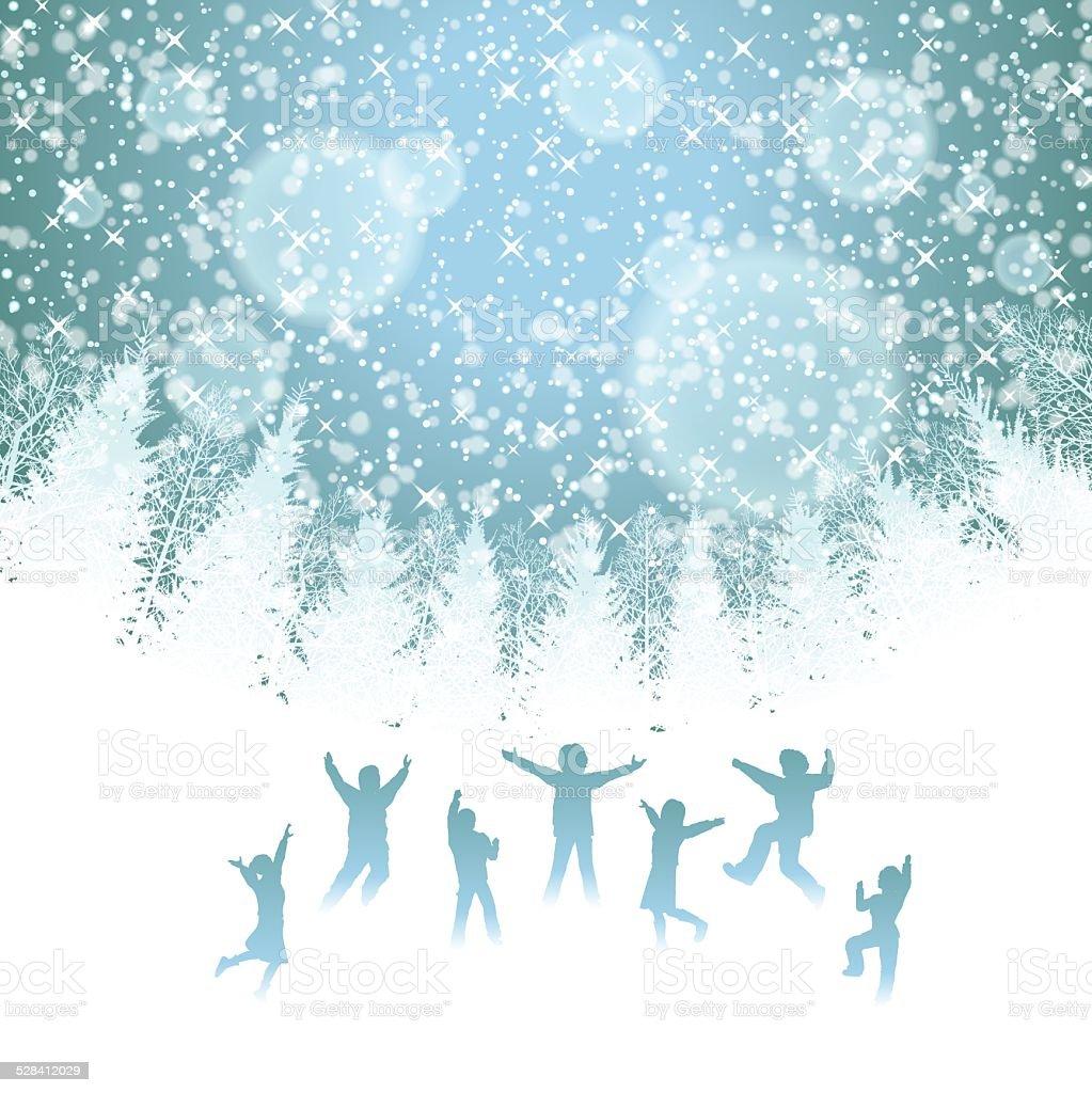 Winter background[Happy children] vector art illustration