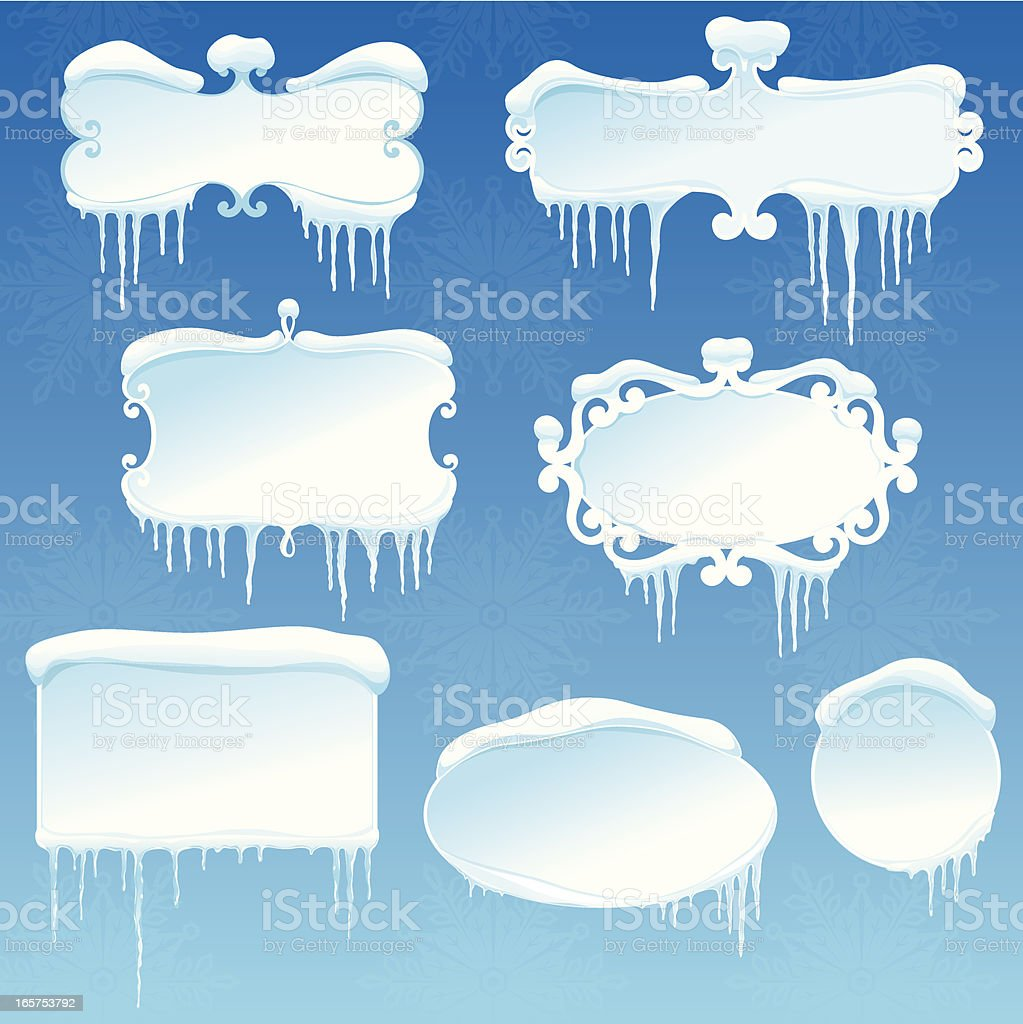 Winter banners collection with snow and icicles royalty-free stock vector art