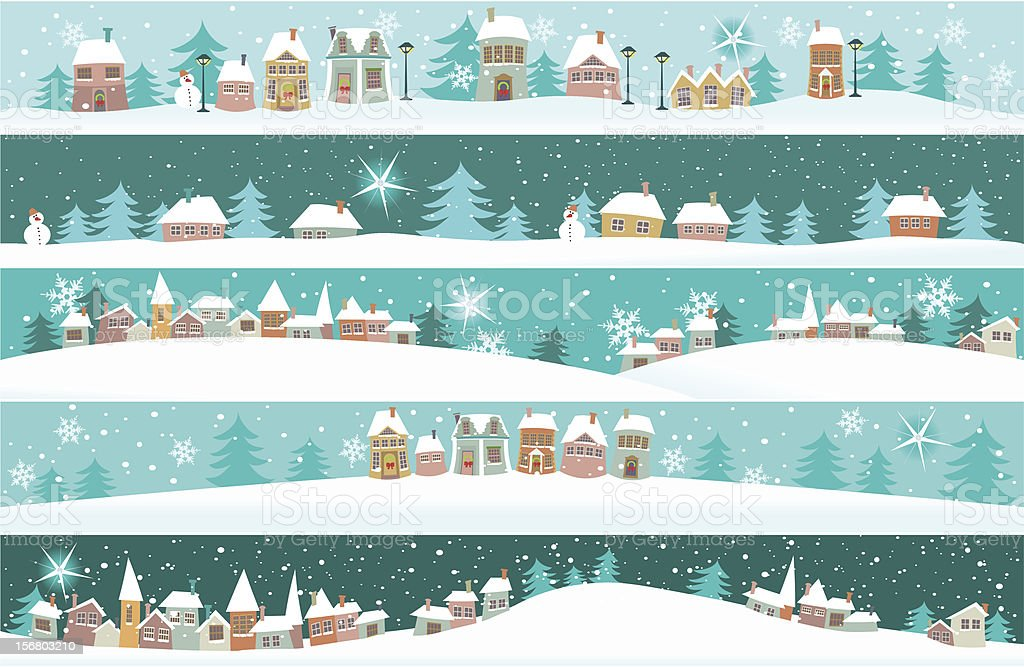 Winter banners with cartoon houses vector art illustration
