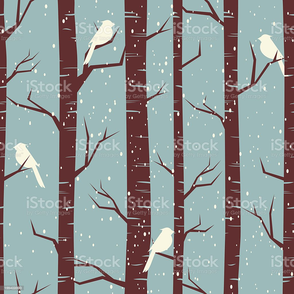 Winter Birch Forest Background royalty-free stock vector art