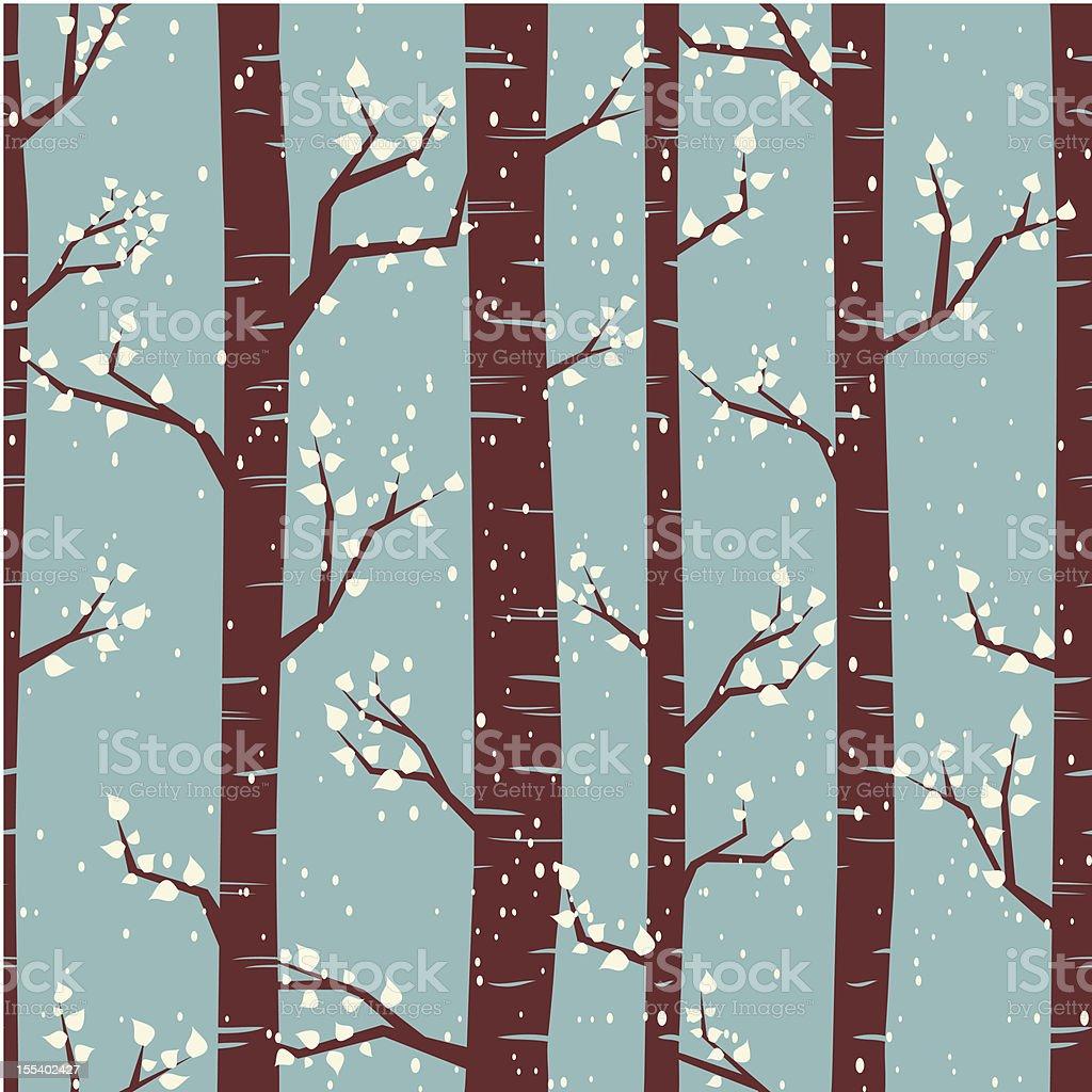 Winter Birch Forest Background vector art illustration