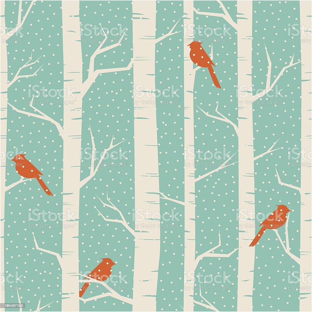 Winter Birch Forest vector art illustration