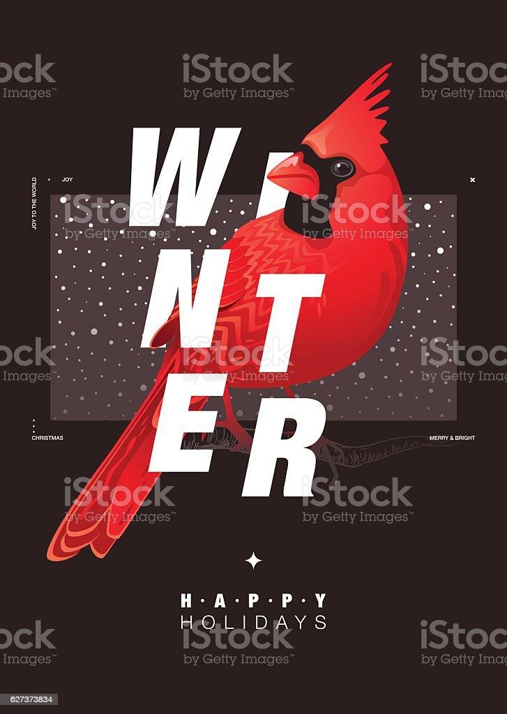 Winter Bird illustration vector art illustration
