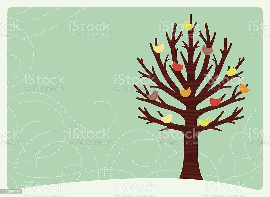 Winter Bird Tree royalty-free stock vector art