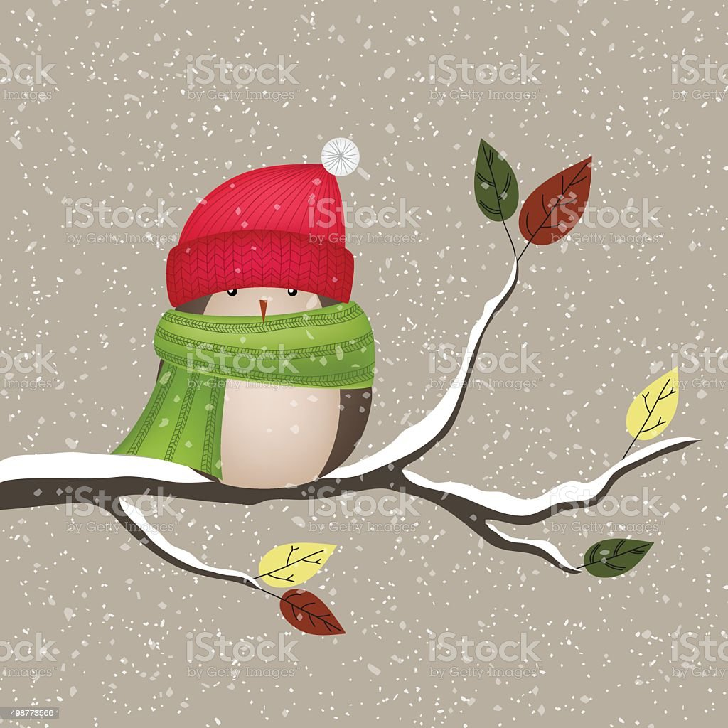 Winter bird with hat and scarf vector art illustration