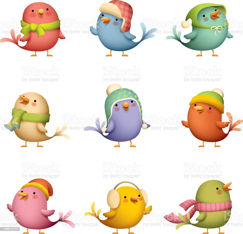 Winter Birds vector art illustration