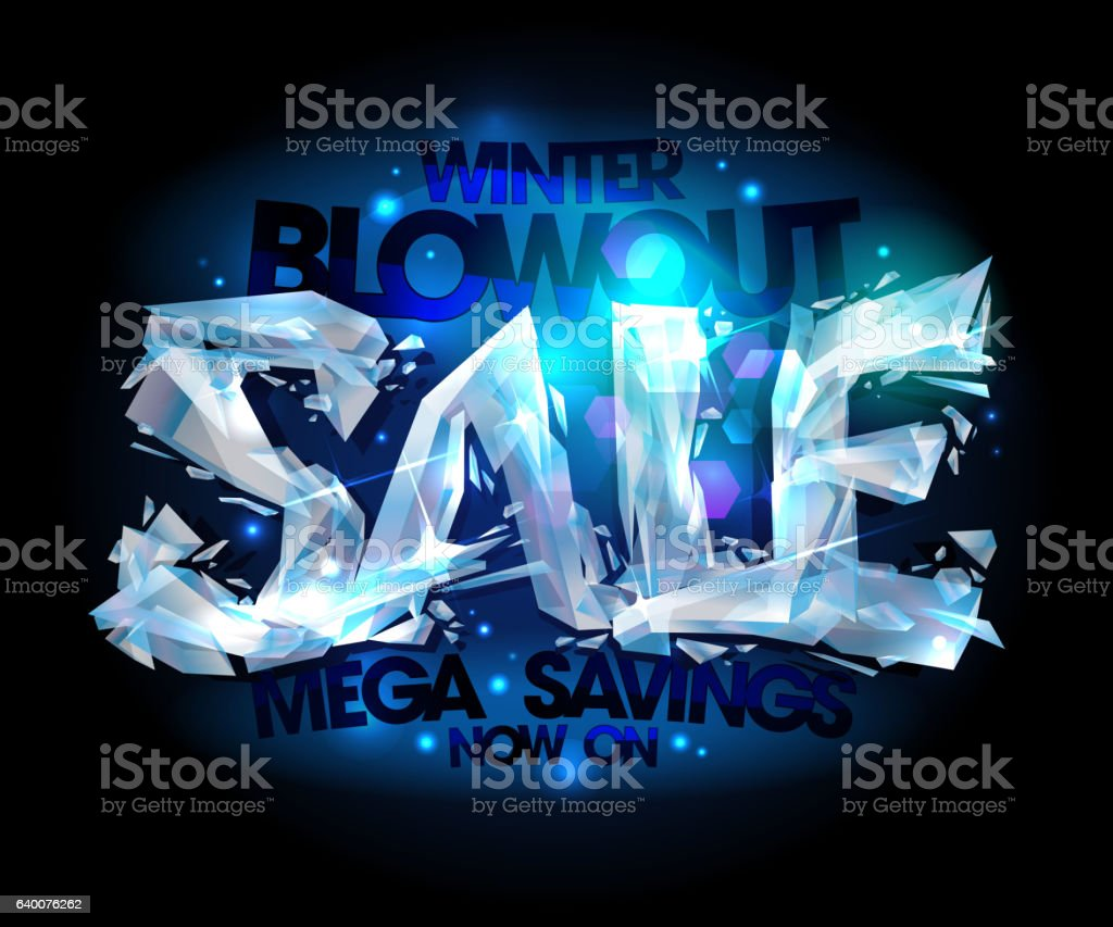 Winter blowout sale design made of broken icy pieces. vector art illustration
